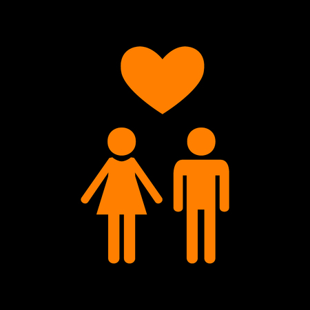 Family symbol with heart. Husband and wife are kept each other`s hands. Love. Orange icon on black background. Old phosphor monitor. CRT. Illustration