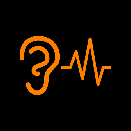 audible: Ear hearing sound sign. Orange icon on black background. Old phosphor monitor. CRT.
