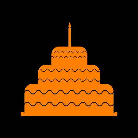 Cake with candle sign. Orange icon on black background. Old phosphor monitor. CRT.