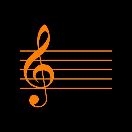 Music violin clef sign. G-clef. Orange icon on black background. Old phosphor monitor. CRT.
