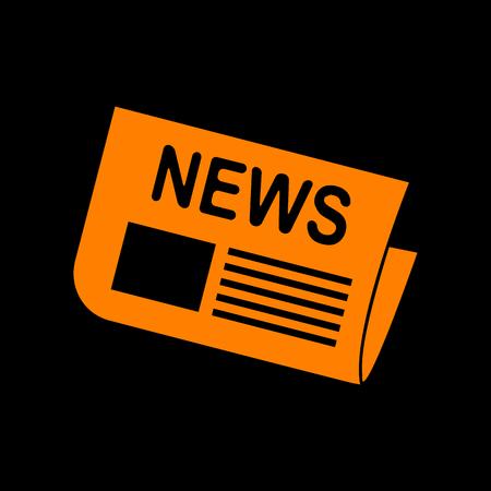 crt: Newspaper sign. Orange icon on black background. Old phosphor monitor. CRT.