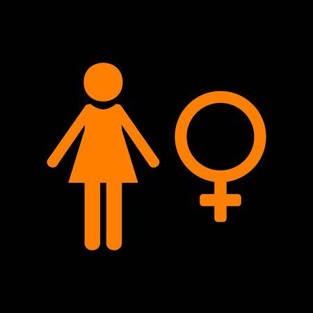 crt: Female sign illustration. Orange icon on black background. Old phosphor monitor. CRT. Illustration