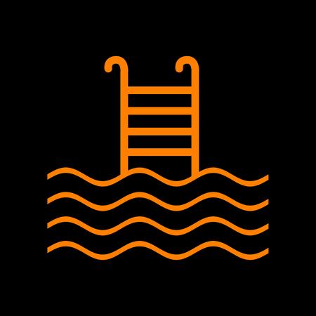 Swimming Pool sign. Orange icon on black background. Old phosphor monitor. CRT. Imagens - 73035096