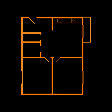 Apartment house floor plans. Orange icon on black background. Old phosphor monitor. CRT.