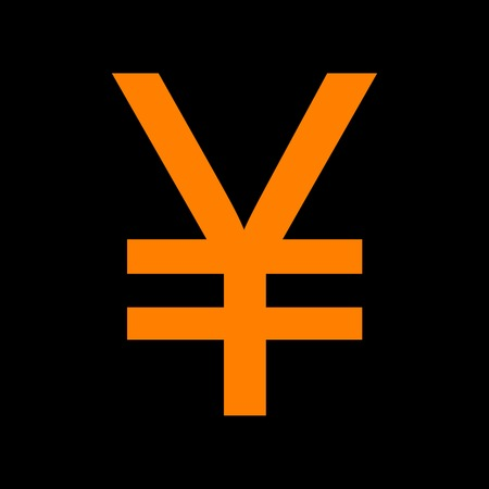crt: Yen sign. Orange icon on black background. Old phosphor monitor. CRT. Illustration