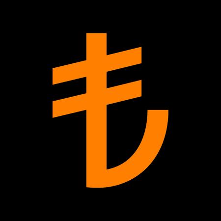 Turkiey Lira sign. Orange icon on black background. Old phosphor monitor. CRT. Imagens - 73033992