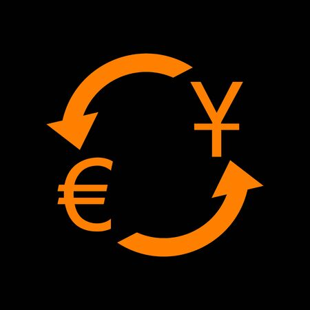 Currency exchange sign. Dollar and Euro. Orange icon on black background. Old phosphor monitor. CRT. Imagens - 73035143