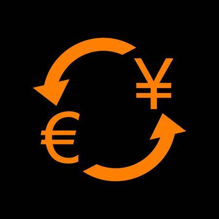 crt: Currency exchange sign. Euro and Japan Yen. Orange icon on black background. Old phosphor monitor. CRT.