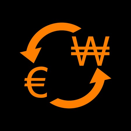 Currency exchange sign. Euro and South Korea Won. Orange icon on black background. Old phosphor monitor. CRT.