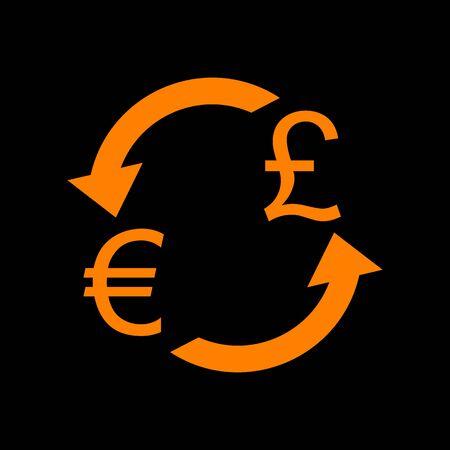 Currency exchange sign. Euro and UK Pound. Orange icon on black background. Old phosphor monitor. CRT. Imagens - 73035142