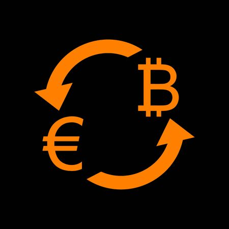 Currency exchange sign. Euro and Bitkoin. Orange icon on black background. Old phosphor monitor. CRT.