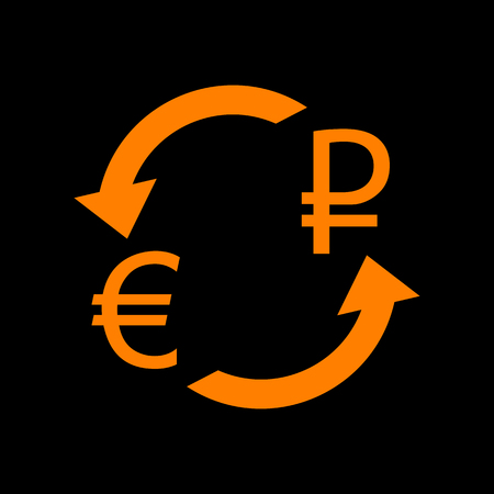 Currency exchange sign. Euro and Russia Rouble. Orange icon on black background. Old phosphor monitor. CRT.