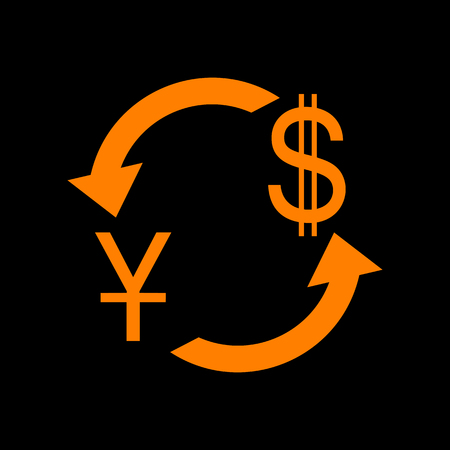 Currency exchange sign. China Yuan and US Dollar. Orange icon on black background. Old phosphor monitor. CRT. Imagens - 73034721