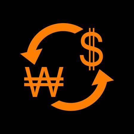 Currency exchange sign. South Korea Won and US Dollar. Orange icon on black background. Old phosphor monitor. CRT. Imagens - 73035102