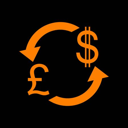 Currency exchange sign. UK: Pound and US Dollar. Orange icon on black background. Old phosphor monitor. CRT. Imagens - 73034817