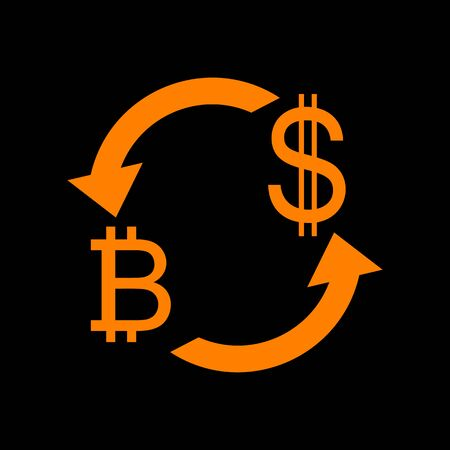 Currency exchange sign. Bitcoin and US Dollar. Orange icon on black background. Old phosphor monitor. CRT.