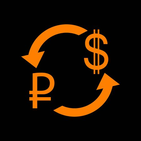Currency exchange sign. Rouble and US Dollar Orange icon on black background. Old phosphor monitor. CRT. Illustration