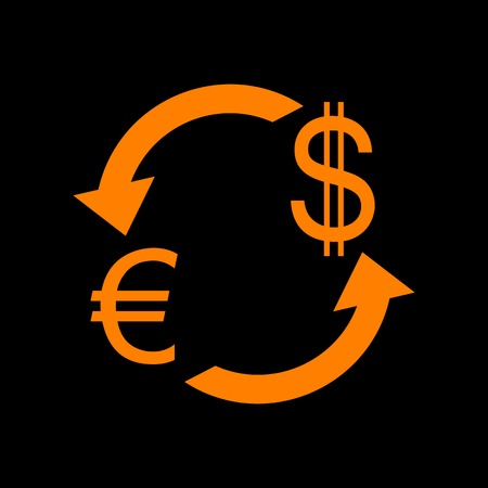 Currency exchange sign. Euro and US Dollar. Orange icon on black background. Old phosphor monitor. CRT.