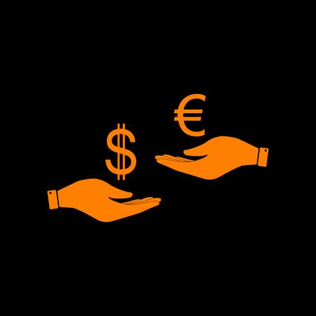 Valutawissel van hand aan hand. Dollar adn Euro. Oranje pictogram op zwarte achtergrond. Oude fosformonitor. CRT. Stock Illustratie