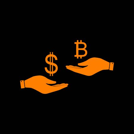 Currency exchange from hand to hand. Dollar and Bitcoin. Orange icon on black background. Old phosphor monitor. CRT. Imagens - 73035116