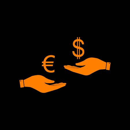 Currency exchange from hand to hand. Euro and Dollar. Orange icon on black background. Old phosphor monitor. CRT.