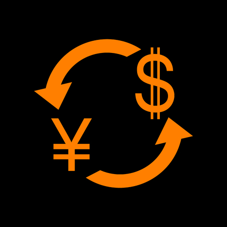 Currency exchange sign. Japan Yen and US Dollar. Orange icon on black background. Old phosphor monitor. CRT. Imagens - 73035122