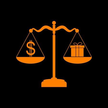 Gift and dollar symbol on scales. Orange icon on black background. Old phosphor monitor. CRT. Imagens - 73035082