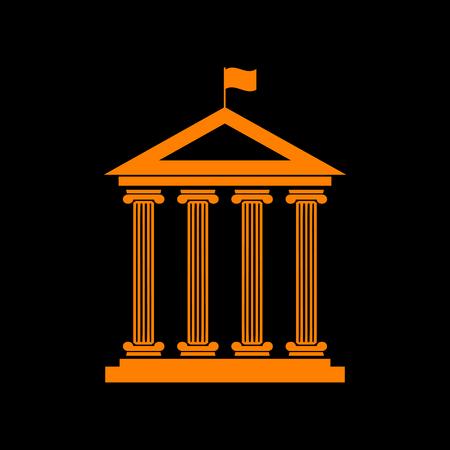 Historical building with flag. Orange icon on black background. Old phosphor monitor. CRT. Imagens - 73035099