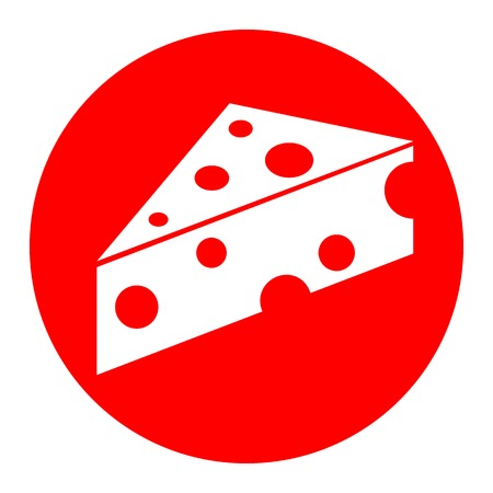 Cheese Maasdam sign. Vector. White icon in red circle on white background. Isolated. Illustration