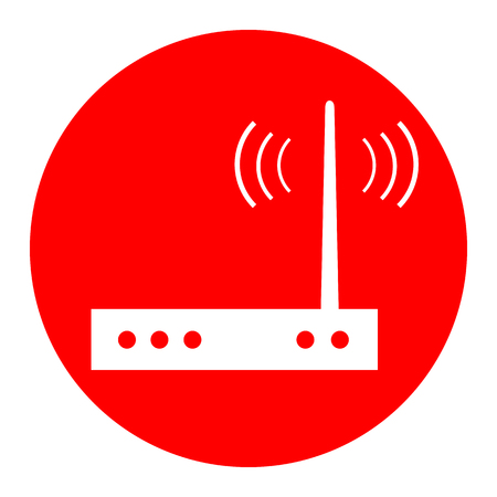Wifi modem sign. Vector. White icon in red circle on white background. Isolated.