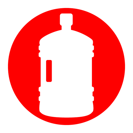 Plastic bottle silhouette sign. Vector. White icon in red circle on white background. Isolated. Illustration