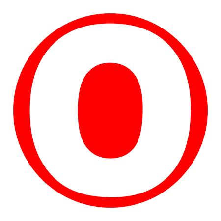 Élément de modèle de conception lettre O signe. Vecteur. Icône blanche dans un cercle rouge sur fond blanc. Isolé.