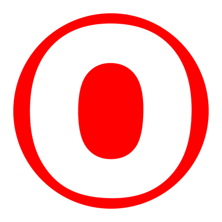 Letter O sign design template element. Vector. White icon in red circle on white background. Isolated.