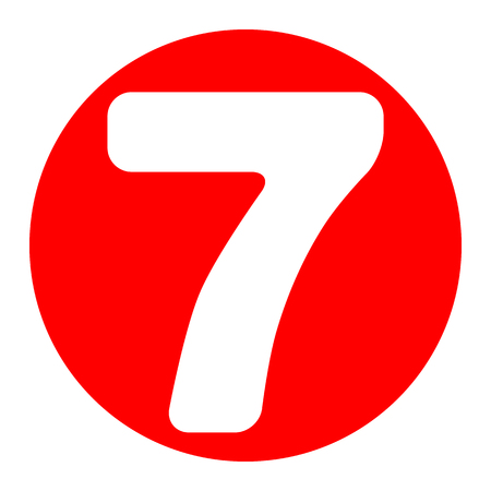 Number 7 sign design template element. Vector. White icon in red circle on white background. Isolated.