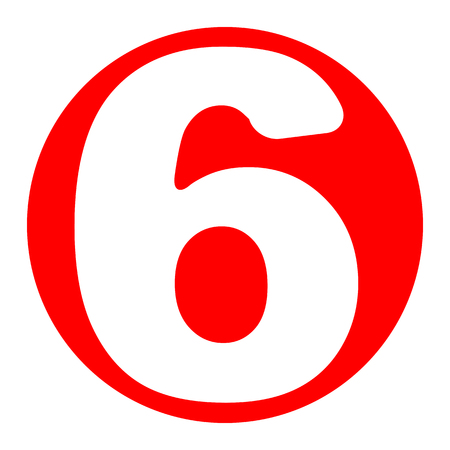 Number 6 sign design template element. Vector. White icon in red circle on white background. Isolated.