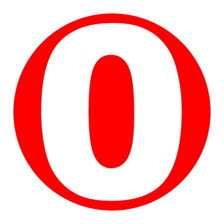 Number 0 sign design template element. White icon in red circle on white background.