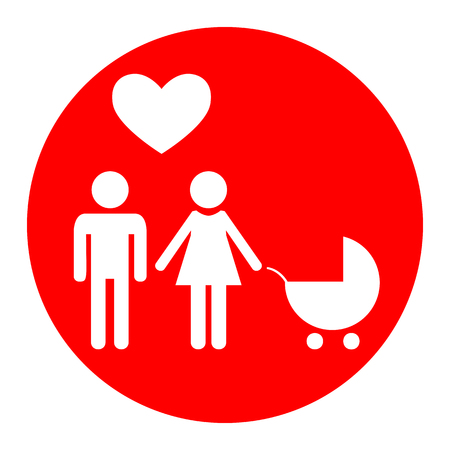 Family symbol with pram and heart. Husband and wife are kept each other`s hands. Love. Vector. White icon in red circle on white background. Isolated.