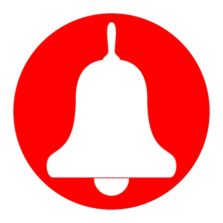 Bell Alarm, handbell sign. Vector. White icon in red circle on white background. Isolated.