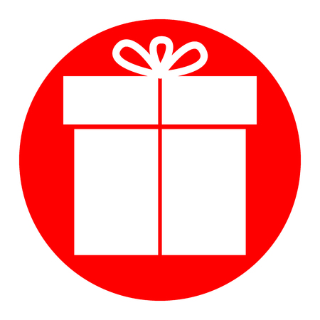 Gift sign. Vector. White icon in red circle on white background. Isolated. Illustration