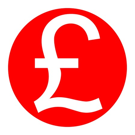 Turkish lira sign. Vector. White icon in red circle on white background. Isolated.