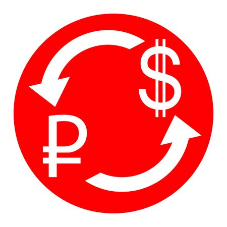 Currency exchange sign. Rouble and US Dollar Vector. White icon in red circle on white background. Isolated. Illustration