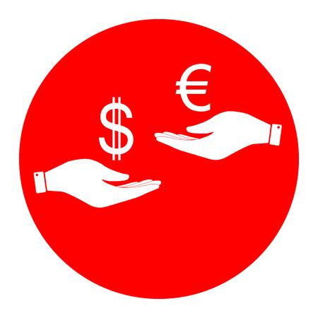 Valutawissel van hand tot hand. Dollar en Euro. Vector. Wit pictogram in rode cirkel op witte achtergrond. Geïsoleerd.