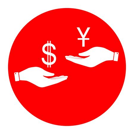 Currency exchange from hand to hand. Dollar and Yuan. Vector. White icon in red circle on white background. Isolated. Illustration