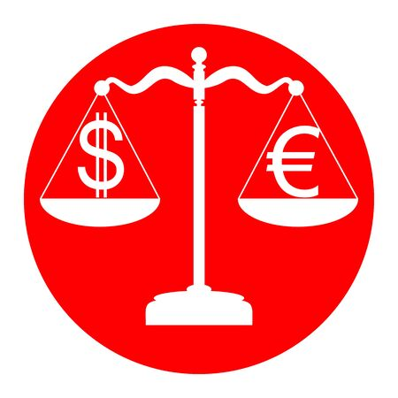 Justice scales with currency exchange sign. Vector. White icon in red circle on white background. Isolated. Illustration