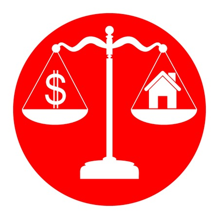 House and dollar symbol on scales.