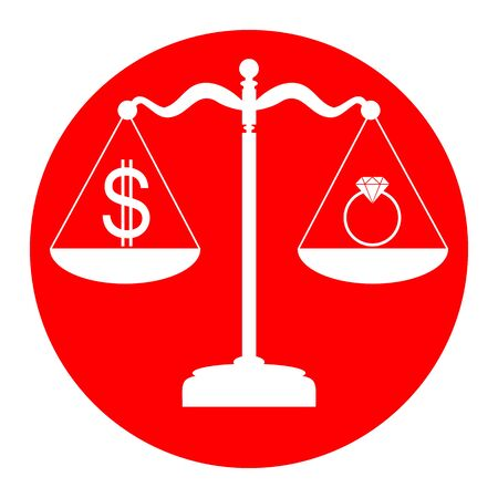 Ring jewelery and dollar symbol on scales. Vector. White icon in red circle on white background. Isolated. Illustration