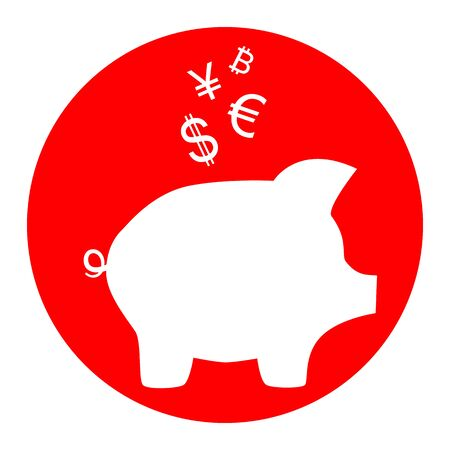 Piggy bank sign with the currencies.