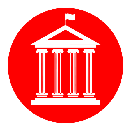 Historical building with flag. Vector. White icon in red circle on white background. Isolated.