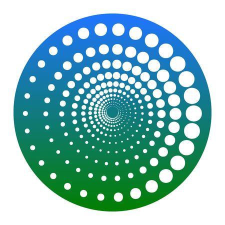 Muestra de círculos de tecnología abstracta. Vector. Icono blanco en círculo azulado sobre fondo blanco. Aislado.