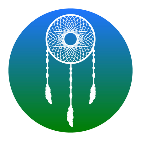 swelled: Dream catcher sign. Vector. White icon in bluish circle on white background. Isolated. Illustration